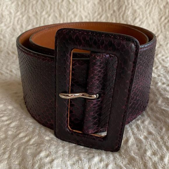 Ralph Lauren Python leather wide brown belt small